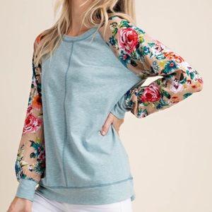 Sage Floral Raglan Long Sleeve Soft Tunic Top!